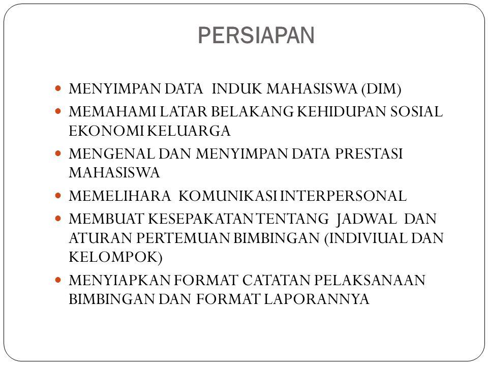 PERSIAPAN  MENYIMPAN DATA INDUK MAHASISWA (DIM)  MEMAHAMI LATAR BELAKANG KEHIDUPAN SOSIAL EKONOMI KELUARGA  MENGENAL DAN MENYIMPAN DATA PRESTASI MA