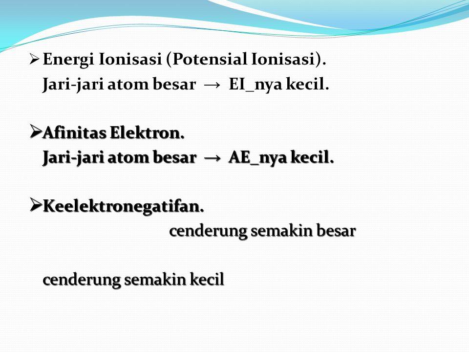  Energi Ionisasi (Potensial Ionisasi). Jari-jari atom besar → EI_nya kecil.  Afinitas Elektron. Jari-jari atom besar → AE_nya kecil.  Keelektronega