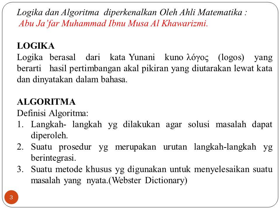 14  Dengan Bahasa semu (Pseudocode): yaitu dengan menggunakan bahasa sehari-hari, tetapi harus jelas dan terstruktur, seperti telah penulis sebutkan pada contoh-contoh sebelumnya(Contoh prosedur berikirm surat).