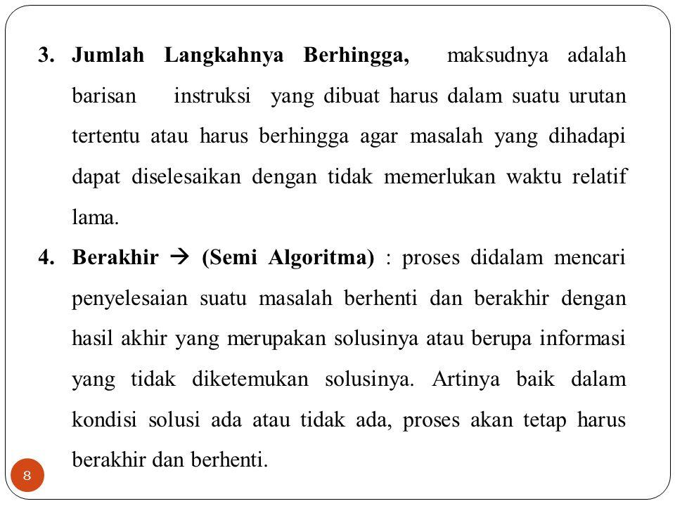 8 3.Jumlah Langkahnya Berhingga, maksudnya adalah barisan instruksi yang dibuat harus dalam suatu urutan tertentu atau harus berhingga agar masalah ya