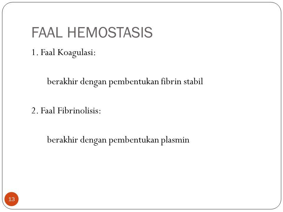 FAAL HEMOSTASIS 13 1.Faal Koagulasi: berakhir dengan pembentukan fibrin stabil 2.