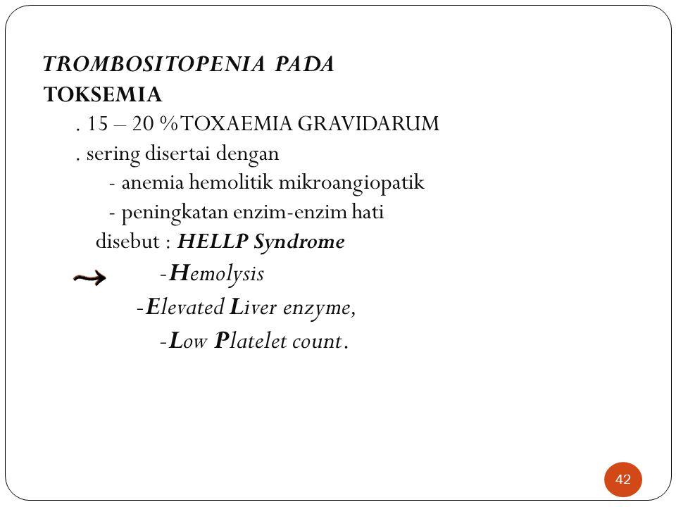 42 TROMBOSITOPENIA PADA TOKSEMIA.15 – 20 % TOXAEMIA GRAVIDARUM.