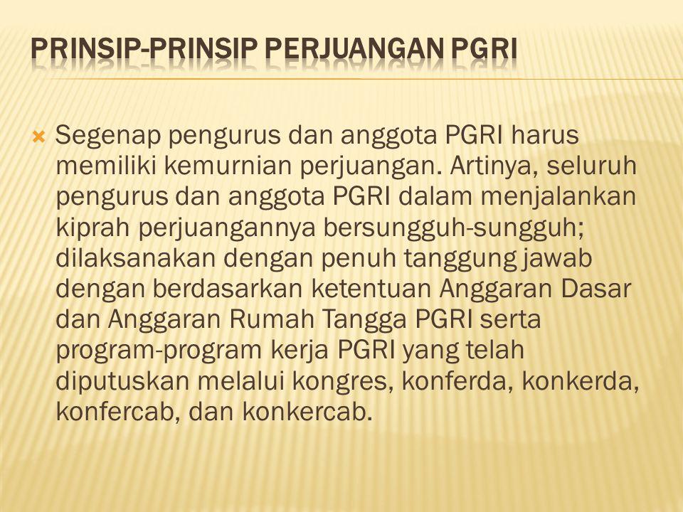  Segenap pengurus dan anggota PGRI dalam melakukan perjuangan mengutamakan kepentingan organisasi dan kepentingan anggota sejalan dengan aspirasi, kehendak, tuntutan dan kebutuhan anggota PGRI di atas segala ‑ galanya.
