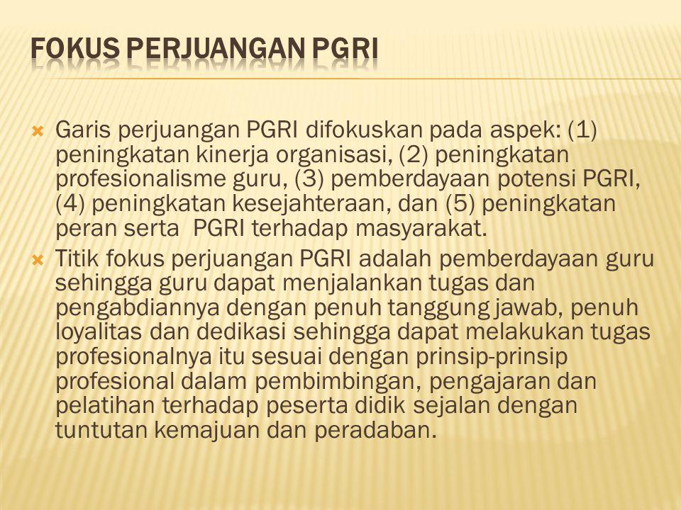  Garis perjuangan PGRI difokuskan pada aspek: (1) peningkatan kinerja organisasi, (2) peningkatan profesionalisme guru, (3) pemberdayaan potensi PGRI