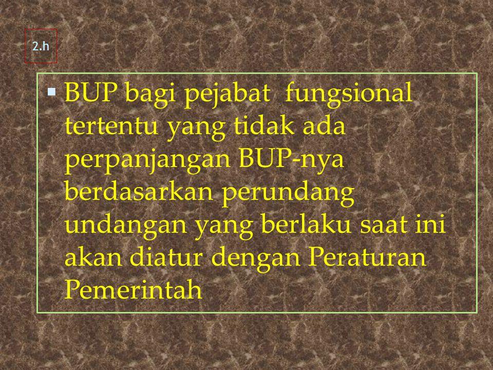  BUP bagi pejabat fungsional tertentu yang tidak ada perpanjangan BUP-nya berdasarkan perundang undangan yang berlaku saat ini akan diatur dengan Peraturan Pemerintah 2.h