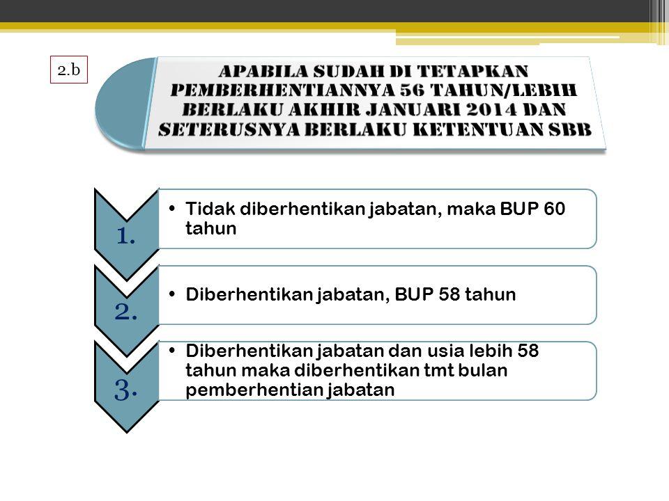 2.b 1.1. •Tidak diberhentikan jabatan, maka BUP 60 tahun 2.2.