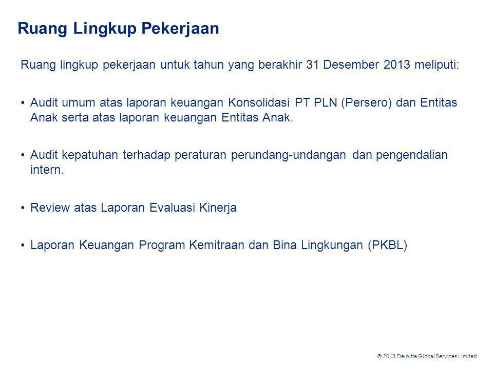 © 2013 Deloitte Global Services Limited Ruang Lingkup Pekerjaan Ruang lingkup pekerjaan untuk tahun yang berakhir 31 Desember 2013 meliputi: •Audit um