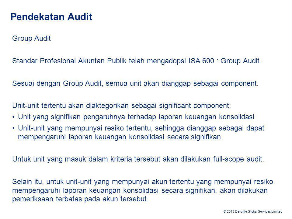 © 2013 Deloitte Global Services Limited Pendekatan Audit Group Audit Sebagai konsekuensi dari penerapan Group Audit: 1.Semua komponen akan mempunyai level materialitas sendiri.