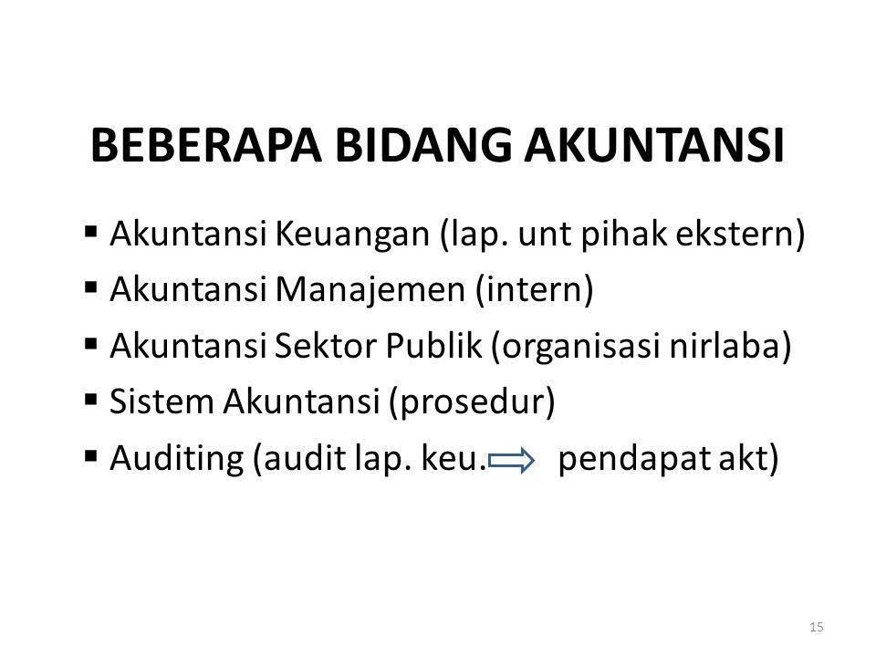 BEBERAPA BIDANG AKUNTANSI  Akuntansi Keuangan (lap. unt pihak ekstern)  Akuntansi Manajemen (intern)  Akuntansi Sektor Publik (organisasi nirlaba)