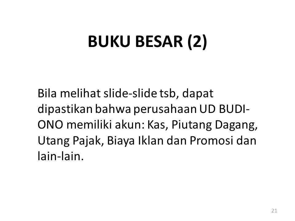 BUKU BESAR (2) Bila melihat slide-slide tsb, dapat dipastikan bahwa perusahaan UD BUDI- ONO memiliki akun: Kas, Piutang Dagang, Utang Pajak, Biaya Ikl