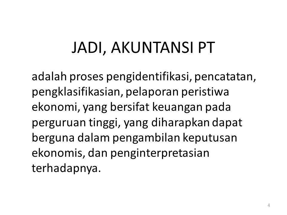 JADI, AKUNTANSI PT adalah proses pengidentifikasi, pencatatan, pengklasifikasian, pelaporan peristiwa ekonomi, yang bersifat keuangan pada perguruan t