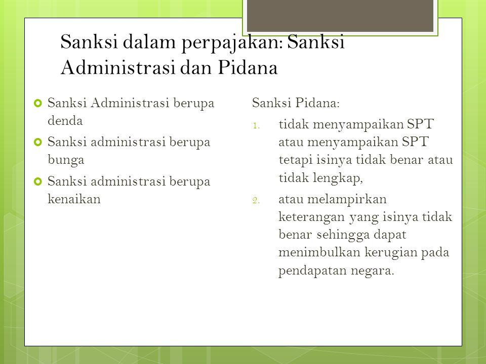 Sanksi dalam perpajakan: Sanksi Administrasi dan Pidana  Sanksi Administrasi berupa denda  Sanksi administrasi berupa bunga  Sanksi administrasi be