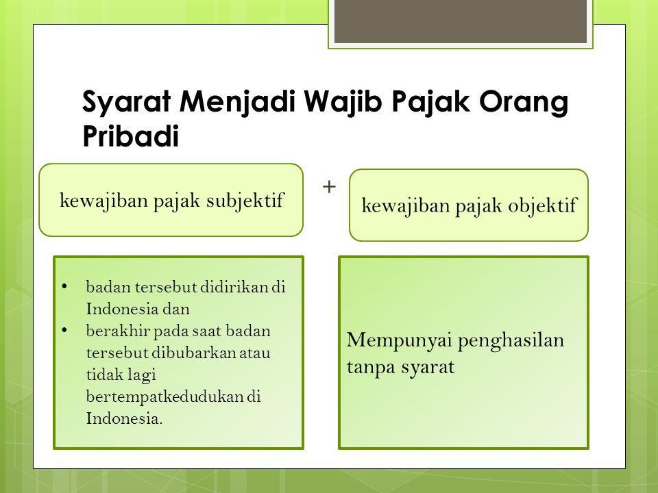 Syarat Menjadi Wajib Pajak Orang Pribadi + kewajiban pajak subjektif kewajiban pajak objektif • badan tersebut didirikan di Indonesia dan • berakhir pada saat badan tersebut dibubarkan atau tidak lagi bertempatkedudukan di Indonesia.