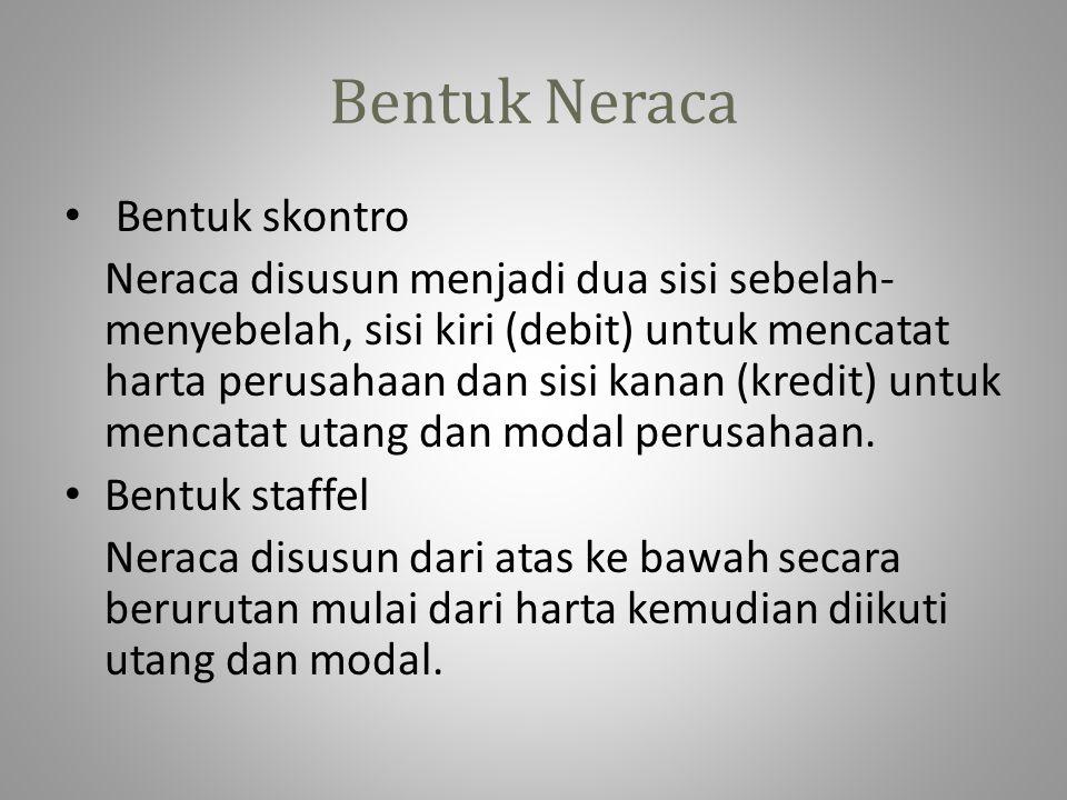 Bentuk Neraca • Bentuk skontro Neraca disusun menjadi dua sisi sebelah- menyebelah, sisi kiri (debit) untuk mencatat harta perusahaan dan sisi kanan (