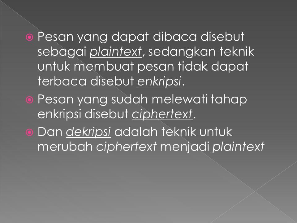  Teknik ini pada dasarnya membuat ciphertext dengan menggantikan posisi objek-objek plaintext tanpa menggantikan objek plaintext tersebut, jadi pada proses transposisi tidak diperlukan karakter lain.