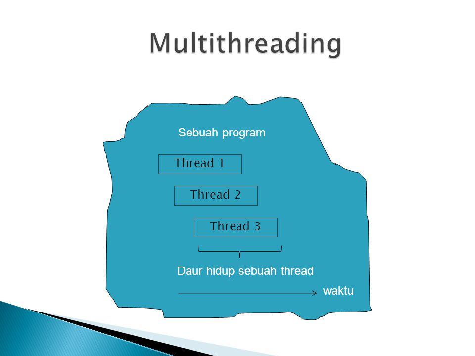 class SinkronisasiKeluaran{ public static synchronized void info(String nama){ for (int i=0; i<5; i++) { try{ Thread.sleep(1000); //tunggu 1 detik } catch(InterruptedException ie){ System.out.println( terinterupsi ); } System.out.println( Thread + nama + :Posisi + i); }