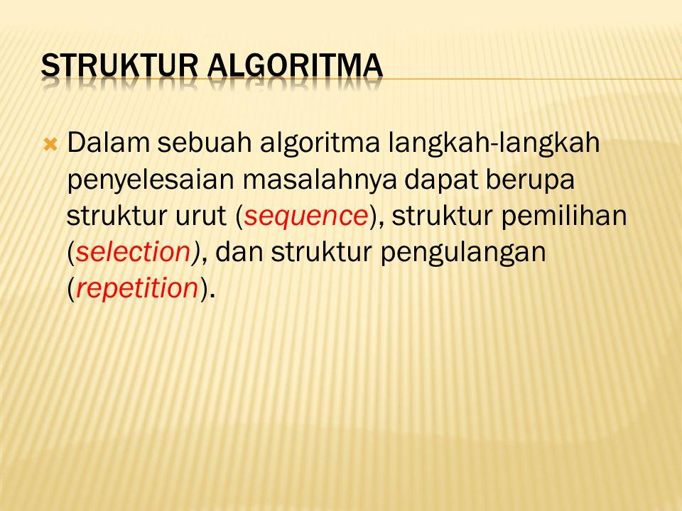  Dalam sebuah algoritma langkah-langkah penyelesaian masalahnya dapat berupa struktur urut (sequence), struktur pemilihan (selection), dan struktur p