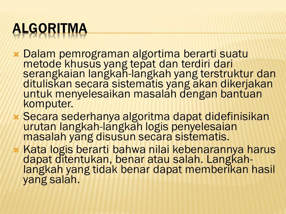  Dalam pemrograman algortima berarti suatu metode khusus yang tepat dan terdiri dari serangkaian langkah-langkah yang terstruktur dan dituliskan seca