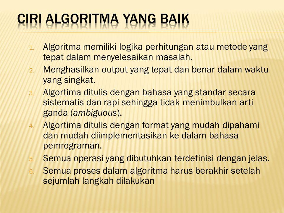 1. Algoritma memiliki logika perhitungan atau metode yang tepat dalam menyelesaikan masalah. 2. Menghasilkan output yang tepat dan benar dalam waktu y