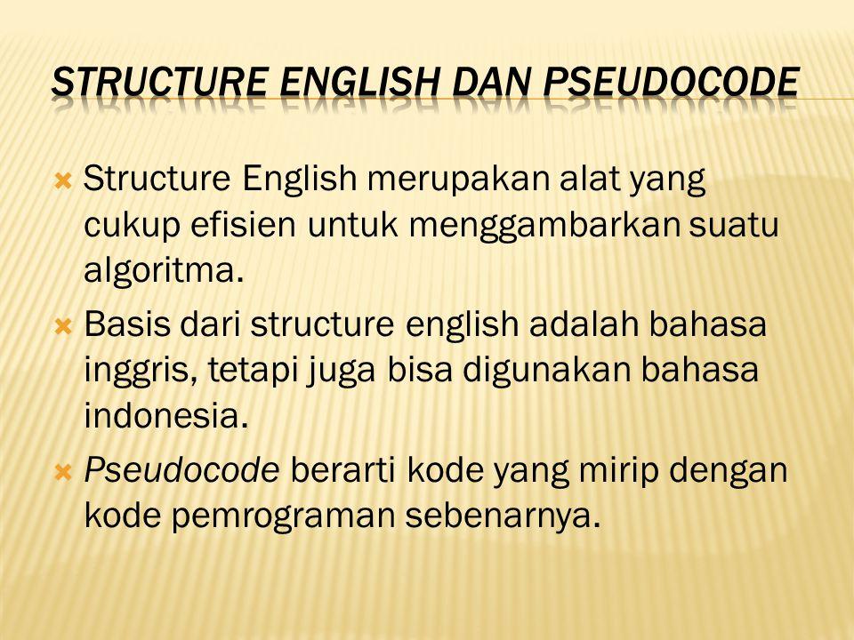  Structure English merupakan alat yang cukup efisien untuk menggambarkan suatu algoritma.  Basis dari structure english adalah bahasa inggris, tetap