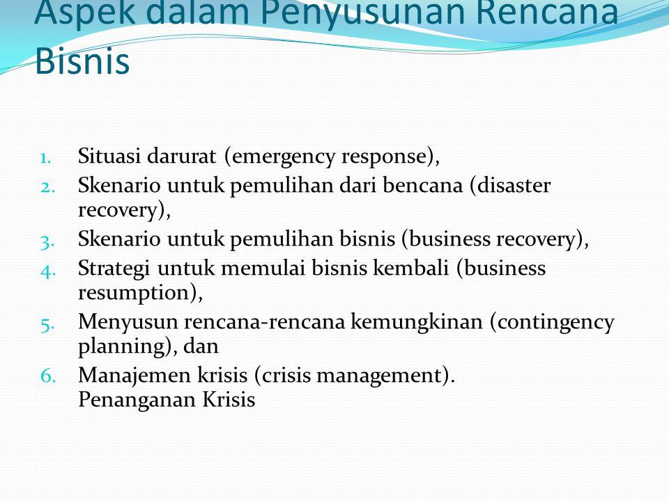 Aspek dalam Penyusunan Rencana Bisnis 1. Situasi darurat (emergency response), 2. Skenario untuk pemulihan dari bencana (disaster recovery), 3. Skenar