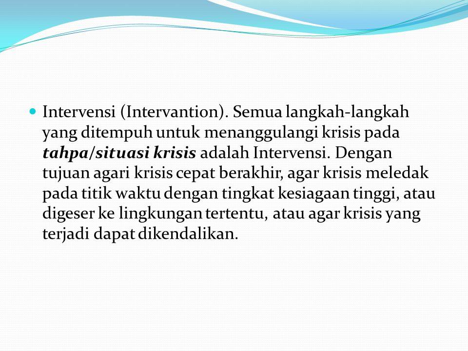  Intervensi (Intervantion). Semua langkah-langkah yang ditempuh untuk menanggulangi krisis pada tahpa/situasi krisis adalah Intervensi. Dengan tujuan