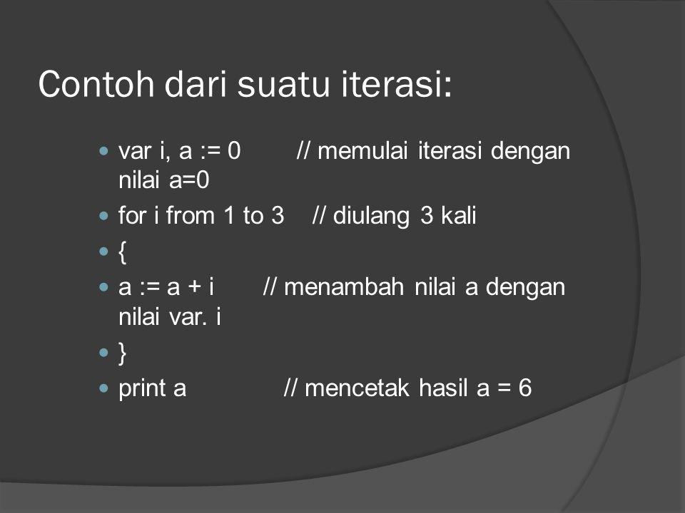 Contoh dari suatu iterasi:  var i, a := 0 // memulai iterasi dengan nilai a=0  for i from 1 to 3 // diulang 3 kali  {  a := a + i // menambah nila