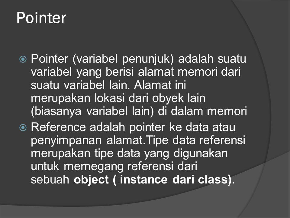 Pointer  Pointer (variabel penunjuk) adalah suatu variabel yang berisi alamat memori dari suatu variabel lain. Alamat ini merupakan lokasi dari obyek
