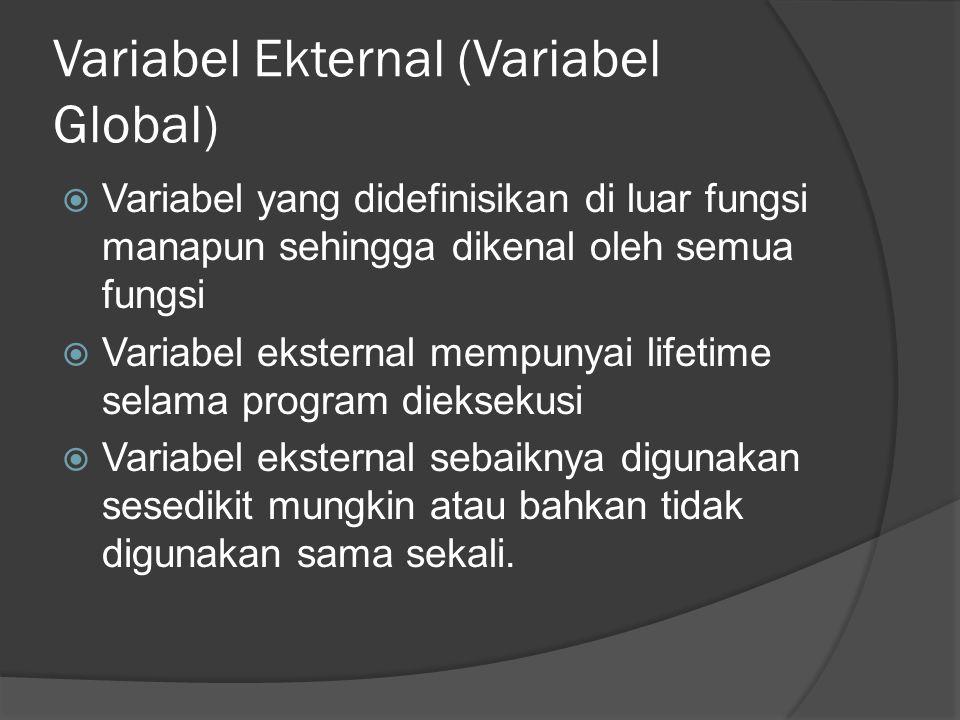 Variabel Ekternal (Variabel Global)  Variabel yang didefinisikan di luar fungsi manapun sehingga dikenal oleh semua fungsi  Variabel eksternal mempu