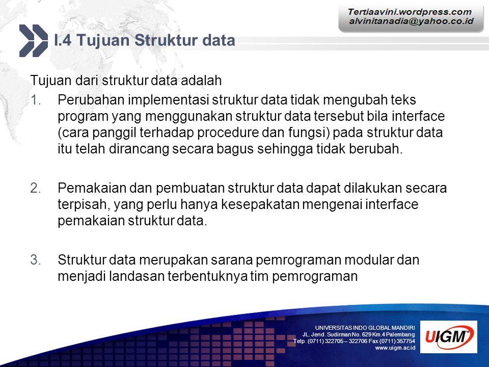 Add your company slogan LOGO I.4 Tujuan Struktur data Tujuan dari struktur data adalah 1.Perubahan implementasi struktur data tidak mengubah teks prog