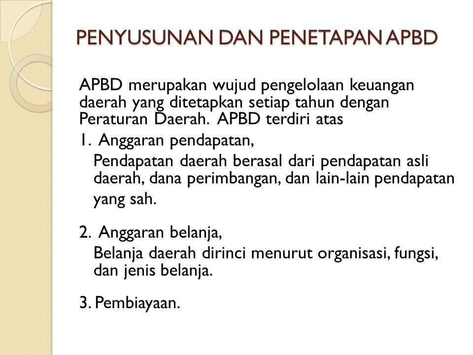 PENYUSUNAN DAN PENETAPAN APBD APBD merupakan wujud pengelolaan keuangan daerah yang ditetapkan setiap tahun dengan Peraturan Daerah. APBD terdiri atas