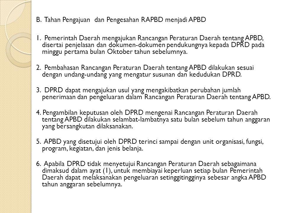 B. Tahan Pengajuan dan Pengesahan RAPBD menjadi APBD 1. Pemerintah Daerah mengajukan Rancangan Peraturan Daerah tentang APBD, disertai penjelasan dan