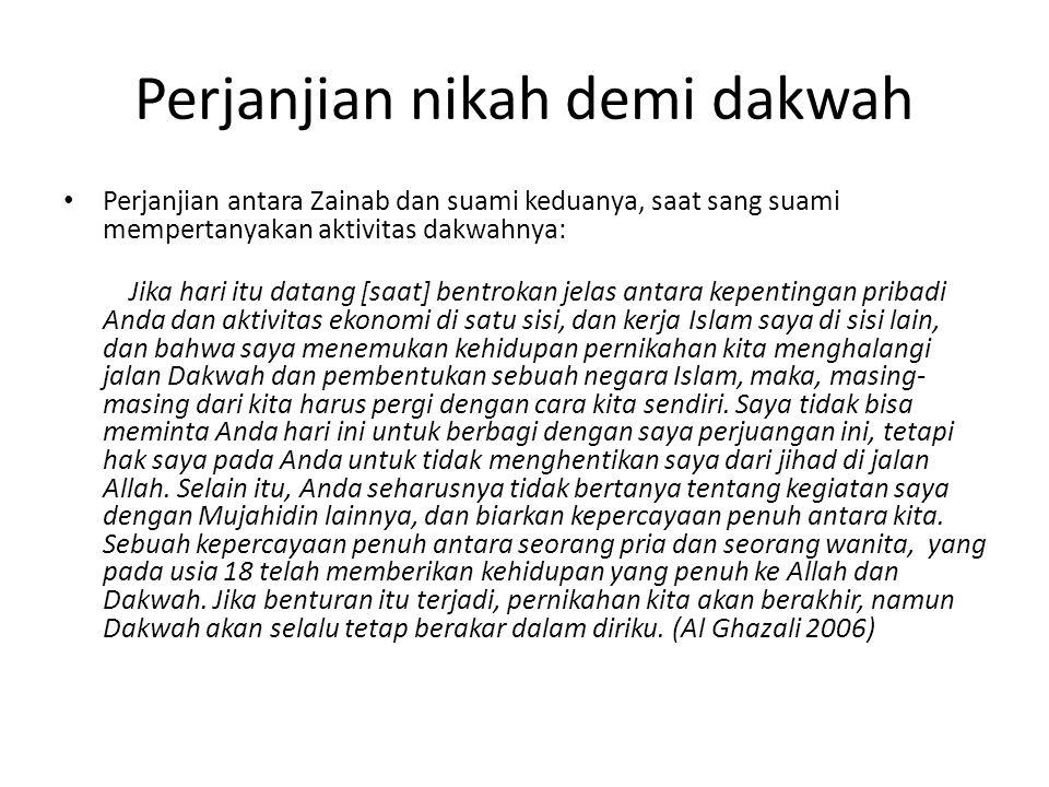 Perjanjian nikah demi dakwah • Perjanjian antara Zainab dan suami keduanya, saat sang suami mempertanyakan aktivitas dakwahnya: Jika hari itu datang [