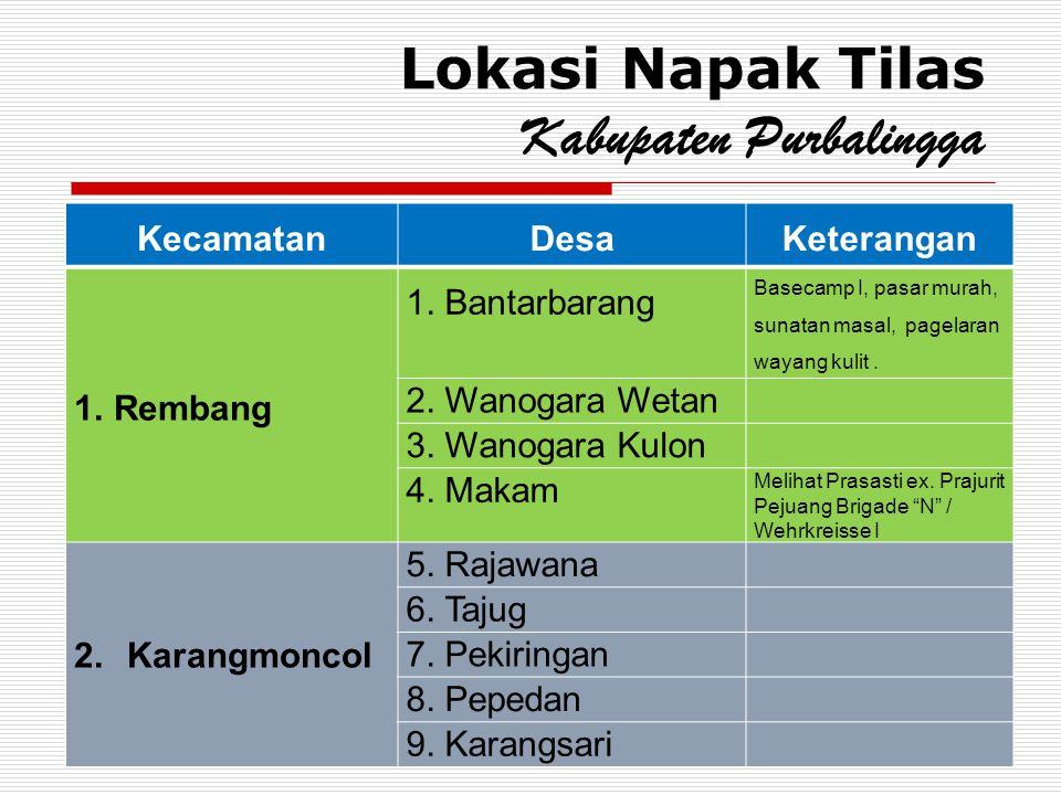 Lokasi Napak Tilas Kabupaten Purbalingga KecamatanDesaKeterangan 1.Rembang 1. Bantarbarang Basecamp I, pasar murah, sunatan masal, pagelaran wayang ku