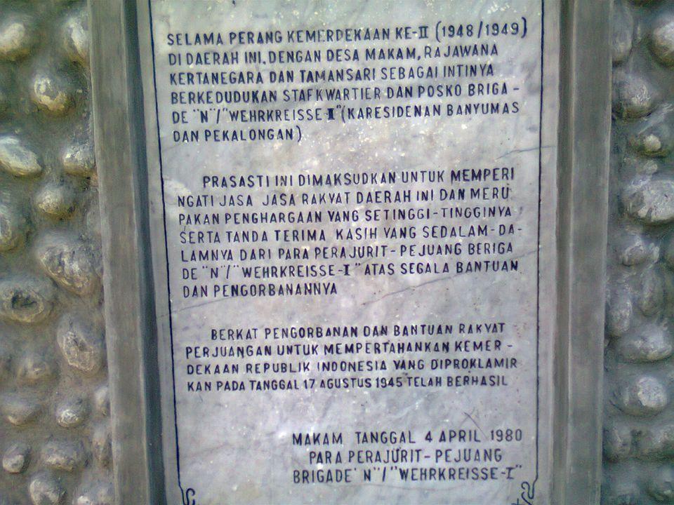 Lokasi Napak Tilas Kabupaten Purbalingga KecamatanDesaKeterangan 6.Bojongsari 17.