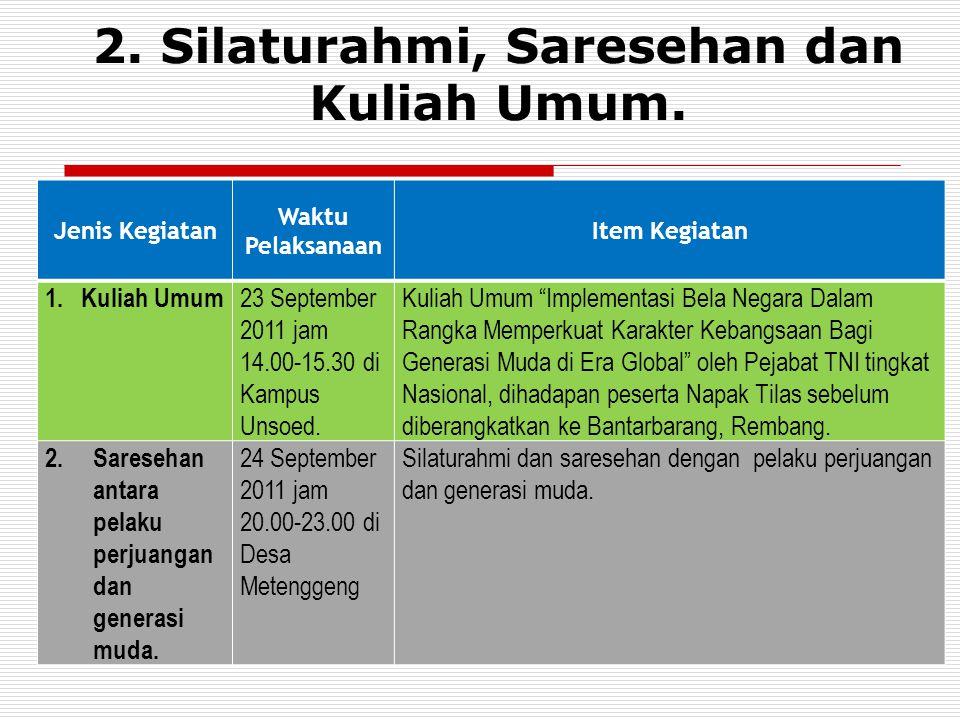 2.Silaturahmi, Saresehan dan Kuliah Umum.