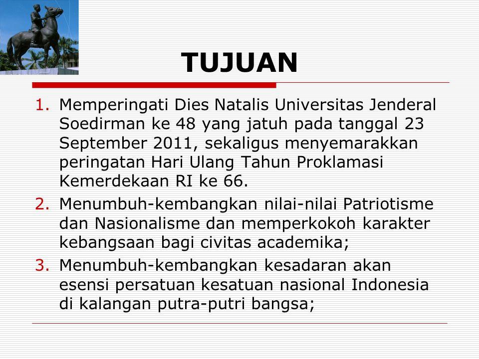 TUJUAN 1.Memperingati Dies Natalis Universitas Jenderal Soedirman ke 48 yang jatuh pada tanggal 23 September 2011, sekaligus menyemarakkan peringatan Hari Ulang Tahun Proklamasi Kemerdekaan RI ke 66.