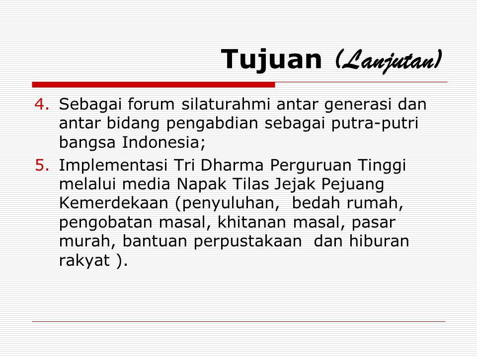 Tujuan (Lanjutan) 4.Sebagai forum silaturahmi antar generasi dan antar bidang pengabdian sebagai putra-putri bangsa Indonesia; 5.Implementasi Tri Dhar