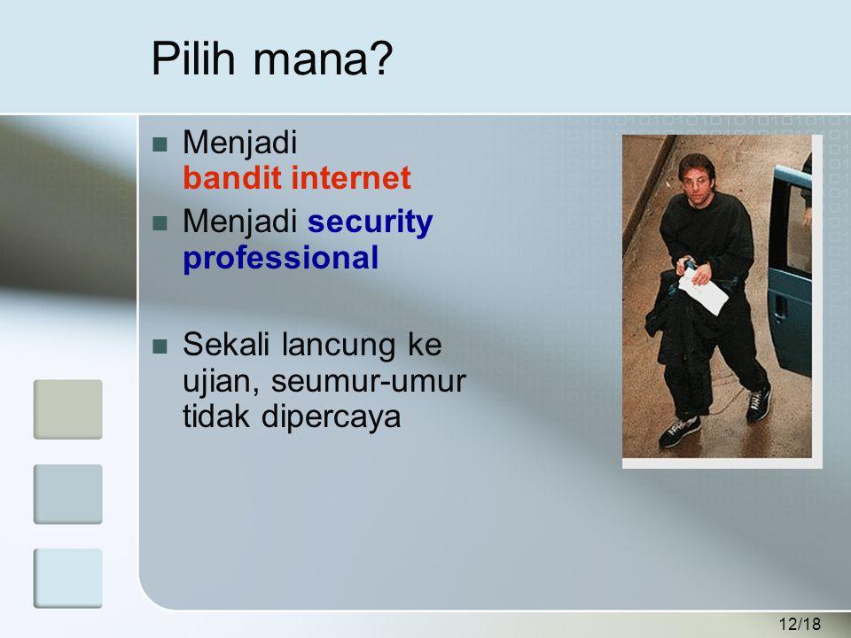 12/18 Pilih mana?  Menjadi bandit internet  Menjadi security professional  Sekali lancung ke ujian, seumur-umur tidak dipercaya