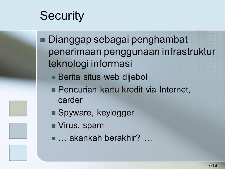 7/18 Security  Dianggap sebagai penghambat penerimaan penggunaan infrastruktur teknologi informasi  Berita situs web dijebol  Pencurian kartu kredit via Internet, carder  Spyware, keylogger  Virus, spam  … akankah berakhir.