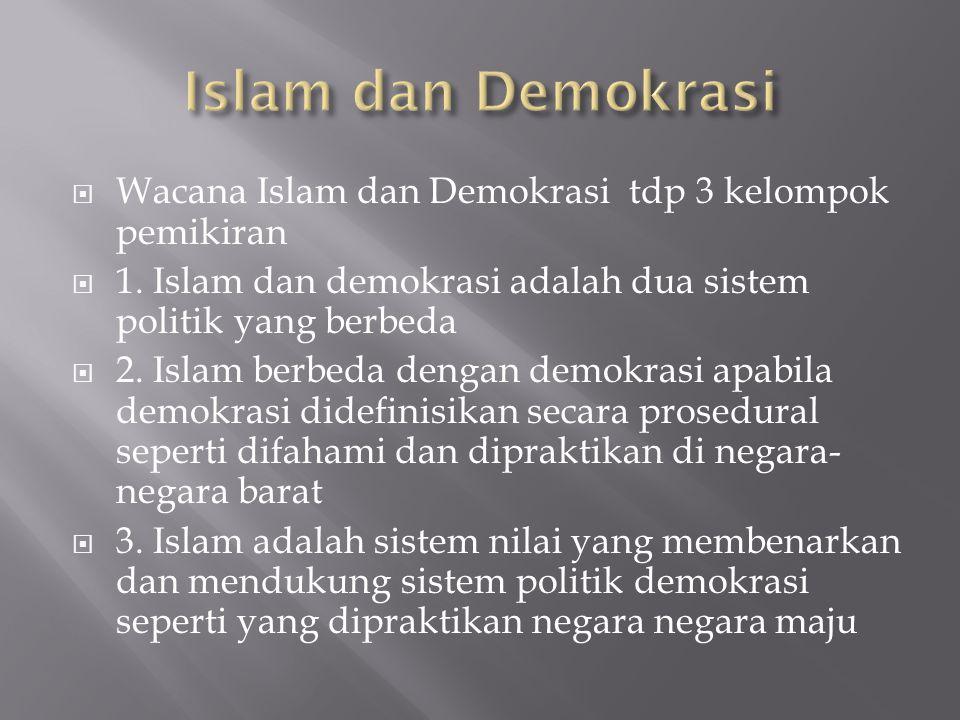  Wacana Islam dan Demokrasi tdp 3 kelompok pemikiran  1. Islam dan demokrasi adalah dua sistem politik yang berbeda  2. Islam berbeda dengan demokr