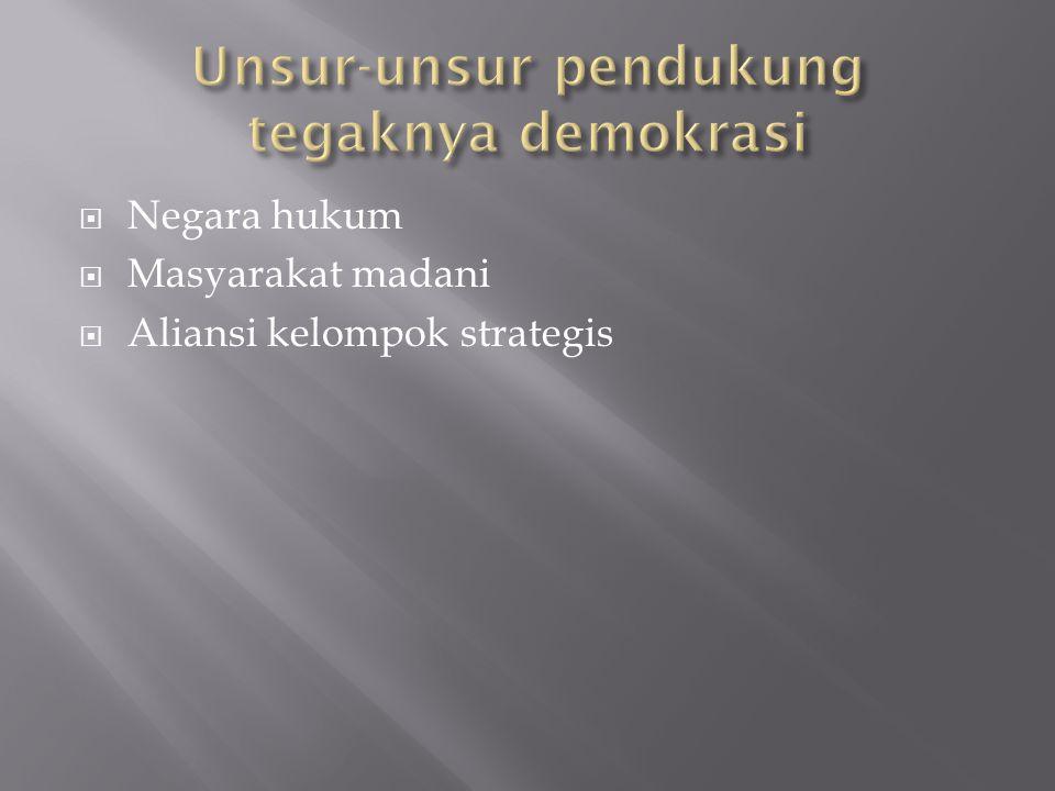  Negara hukum  Masyarakat madani  Aliansi kelompok strategis