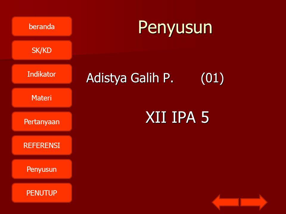 beranda SK/KD Indikator Materi Pertanyaan REFERENSI Penyusun PENUTUPPenyusun Adistya Galih P.(01) XII IPA 5