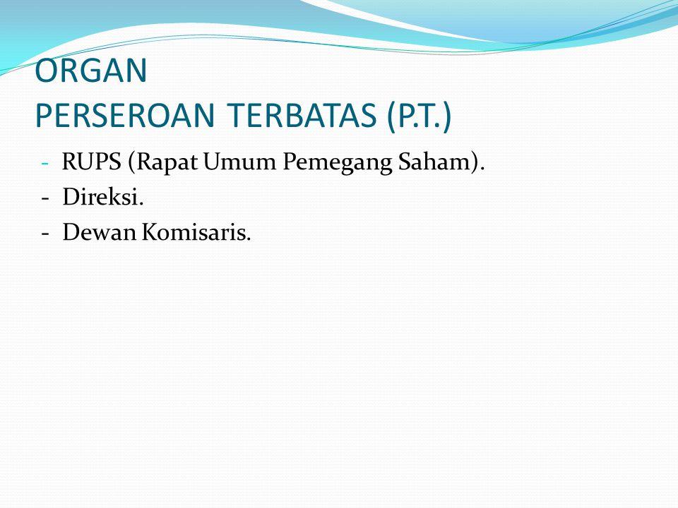 ORGAN PERSEROAN TERBATAS (P.T.) - RUPS (Rapat Umum Pemegang Saham). - Direksi. - Dewan Komisaris.
