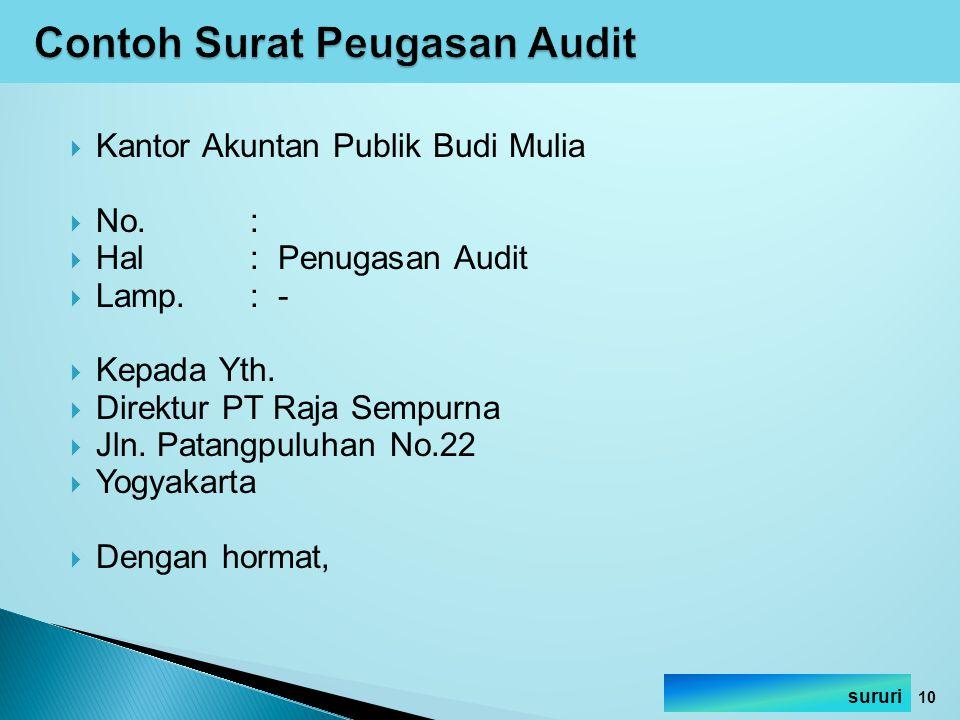  Kantor Akuntan Publik Budi Mulia  No.:  Hal: Penugasan Audit  Lamp.: -  Kepada Yth.  Direktur PT Raja Sempurna  Jln. Patangpuluhan No.22  Yog