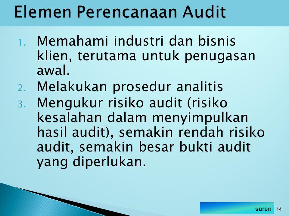 1. Memahami industri dan bisnis klien, terutama untuk penugasan awal. 2. Melakukan prosedur analitis 3. Mengukur risiko audit (risiko kesalahan dalam