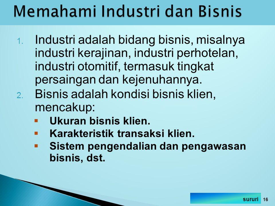 1. Industri adalah bidang bisnis, misalnya industri kerajinan, industri perhotelan, industri otomitif, termasuk tingkat persaingan dan kejenuhannya. 2