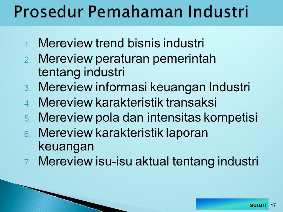1. Mereview trend bisnis industri 2. Mereview peraturan pemerintah tentang industri 3. Mereview informasi keuangan Industri 4. Mereview karakteristik