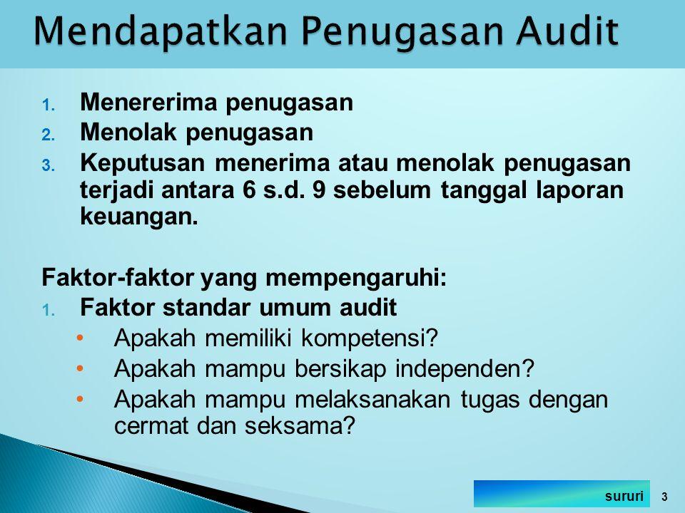 1. Menererima penugasan 2. Menolak penugasan 3. Keputusan menerima atau menolak penugasan terjadi antara 6 s.d. 9 sebelum tanggal laporan keuangan. Fa