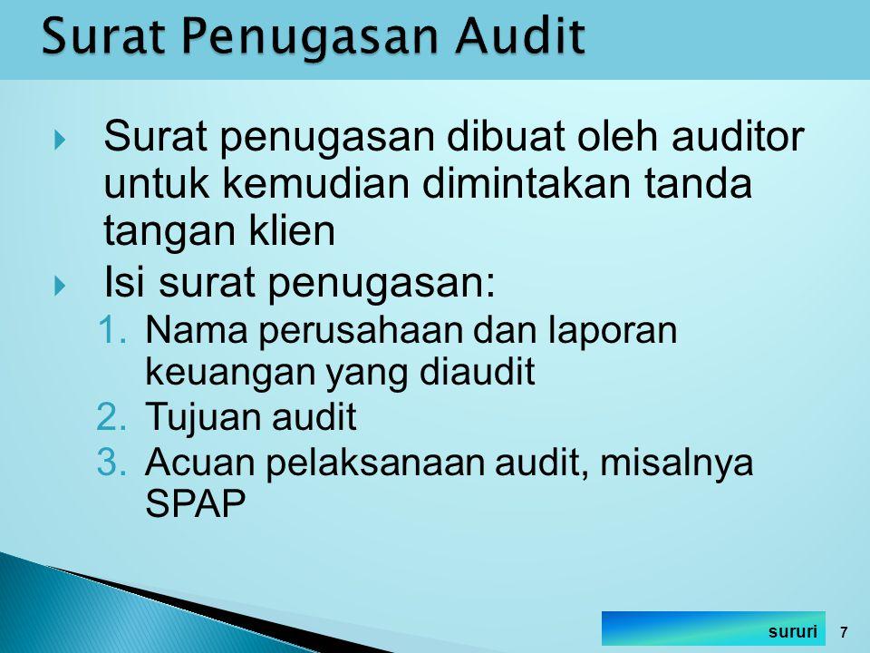 Surat penugasan dibuat oleh auditor untuk kemudian dimintakan tanda tangan klien  Isi surat penugasan: 1.Nama perusahaan dan laporan keuangan yang